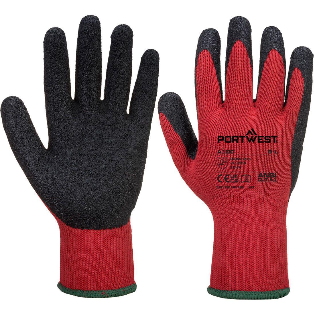 Portwest Handschoenen A100 rood-zwart(R8)