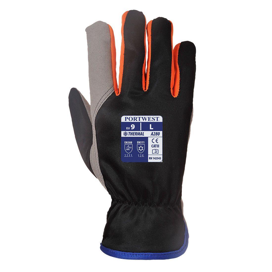 Portwest Handschoenen A280 zwart-oranje(K1)