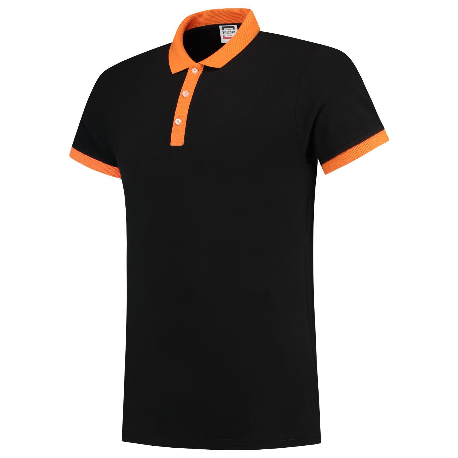 Tricorp Casual Poloshirts 201002-PBF210 zwart-oranje(BlackOran)